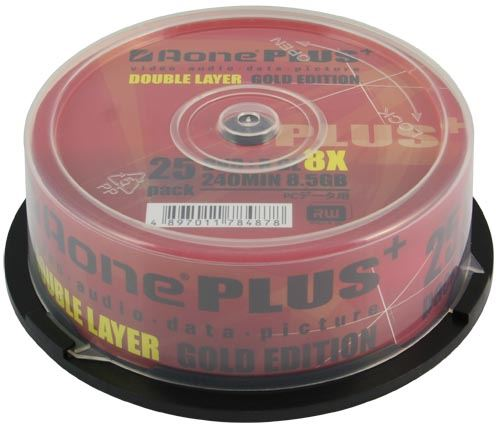 Aone Plus DVD+R 8x Write 8.5GB DL Dual Layer Logo Blank Discs 25pcs Cake (Box of 600)(24 Tubs)