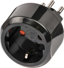 Brennenstuhl Travel Adapter Europe-to-Switzerland Earthed Schuko to Type J Black (DE,BE,FR,ES,PL to CH)