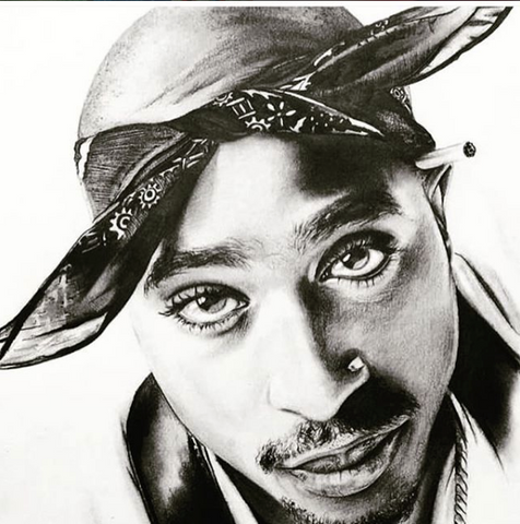 TUPAC Original Print of Unique Artwork Drawn & Signed by Famous UK Artist ASHER