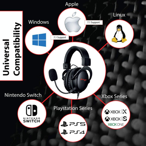 Psyc Seraph 7.1 Universal Gaming Headset Over the Ear Surround Sound Headphones PC/PS4/PS5/Xbox One/Switch (Black/Red)