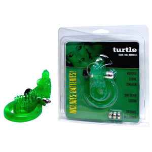 Turtle Cock & Ball Harness - Green Vibrating Cock & Ball Ring with Turtle Clit Stimulator - Early2bed