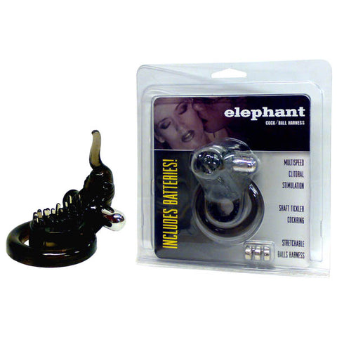 Elephant Cock & Ball Harness - Smoke Vibrating Cock & Ball Ring with Elephant Clit Stimulator