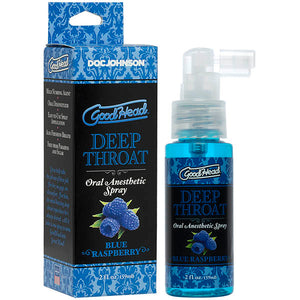 GoodHead Deep Throat Spray - Blue Raspberry Flavoured Deep Throat Spray - 59 ml Bottle - Early2bed