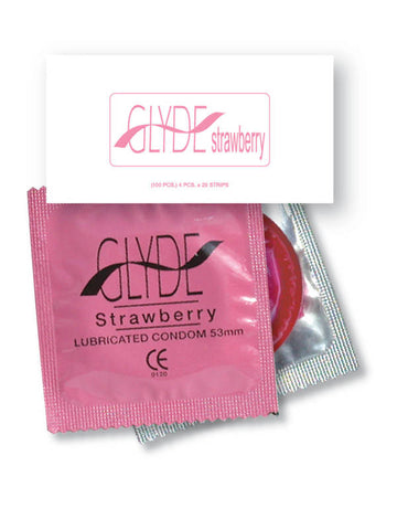 GLYDE FLAVOURED STRAWBERRY BULK VEGAN CONDOMS 50 Condoms - Early2bed
