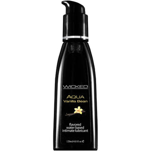 Wicked Aqua Vanilla Bean - Vanilla Bean Flavoured Water Based Lubricant - 120 ml (4 oz) Bottle - Early2bed
