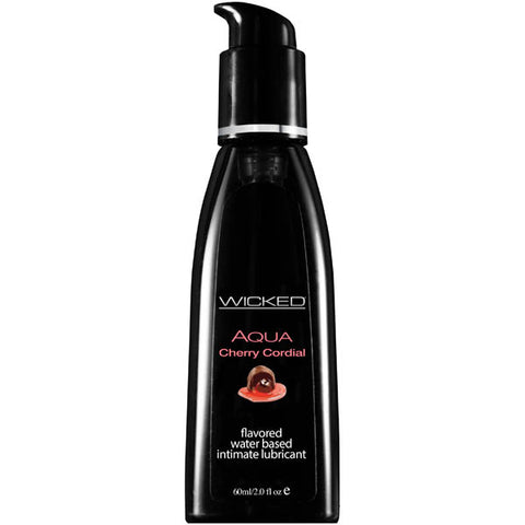 Wicked Aqua Cherry Cordial - Cherry Cordial Flavoured Water Based Lubricant - 60 ml (2 oz) Bottle