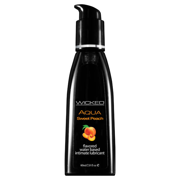 Wicked Aqua Sweet Peach - Sweet Peach Flavoured Water Based Lubricant - 60 ml (2 oz) Bottle - Early2bed