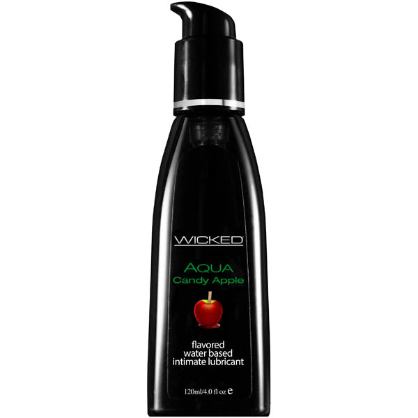 Wicked Aqua Candy Apple - Candy Apple Flavoured Water Based Lubricant - 120 ml (4 oz) Bottle - Early2bed