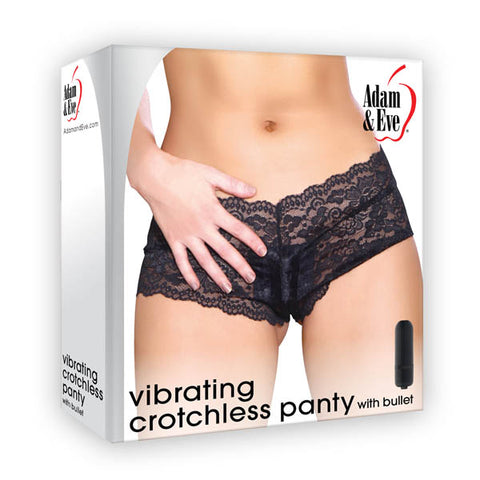 Adam & Eve Vibrating Crotchless Panty with Bullet - Black Vibrating Panties - One Size - Early2bed