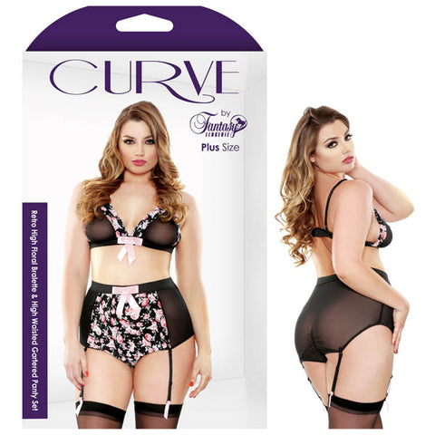 Curve Heather Retro High Floral Bralette & High Waisted Gartered Panty Set - 3X/4X Size