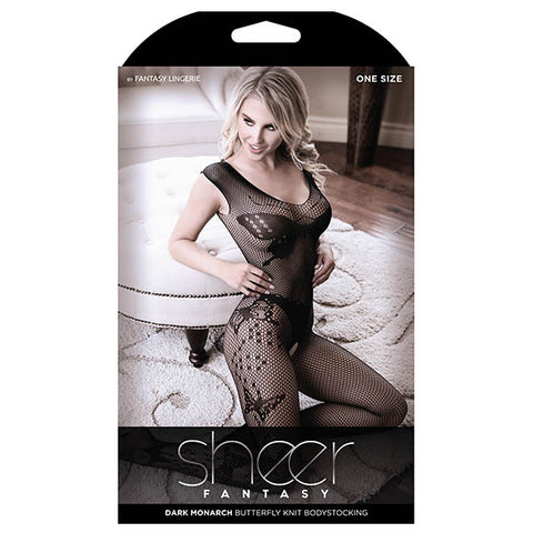 Sheer Fantasy Dark Monarch Butterfly Knit Bodystocking - Black - One Size