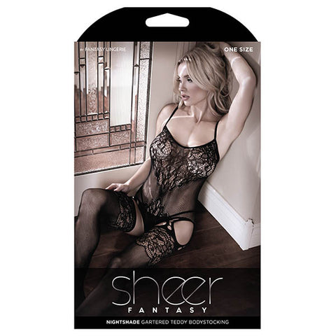 Sheer Fantasy Nightshade Gartered Teddy Bodystocking - Black - One Size - Early2bed