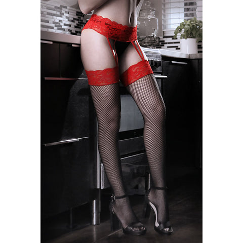 SHEER FANTASY I DARE YOU Lace Gartered Stockings - Red/Black - One Size - Early2bed