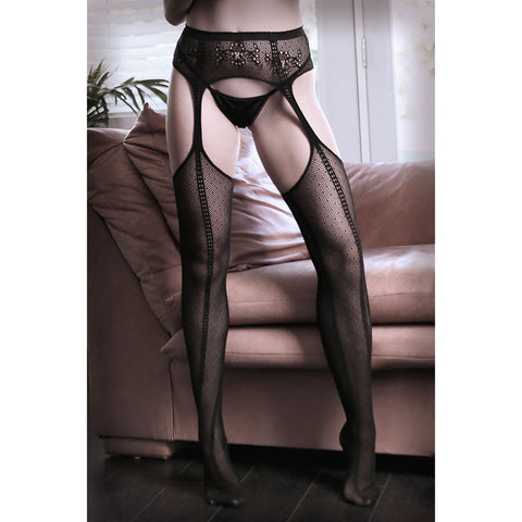 SHEER FANTASY DIM THE LIGHTS Net Garter Belt Stockings - Black - One Size - Early2bed