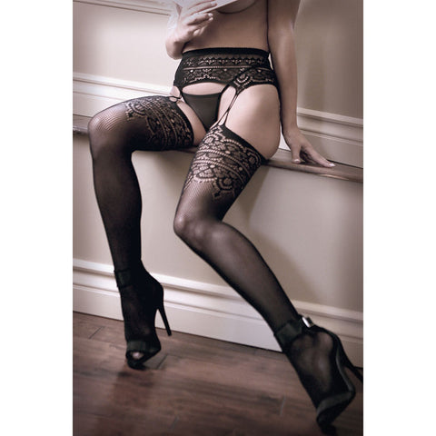 SHEER FANTASY INTO YOU Geometric Garter Stockings - Black - One Size - Early2bed