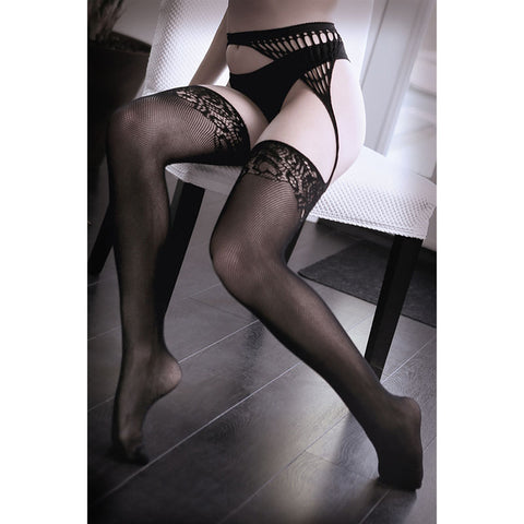 SHEER FANTASY I DON'T MIND Net Gartered Stockings - Black - One Size - Early2bed