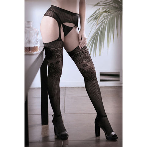 SHEER FANTASY HANDS ON ME Galloon Net Garter Stockings - Black - One Size