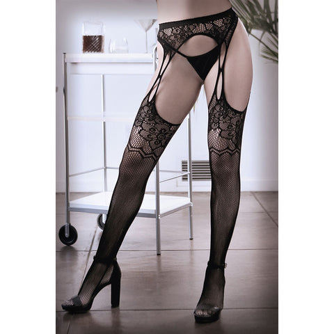 SHEER FANTASY WHAT IF Floral Net Garter Stockings - Black - One Size - Early2bed