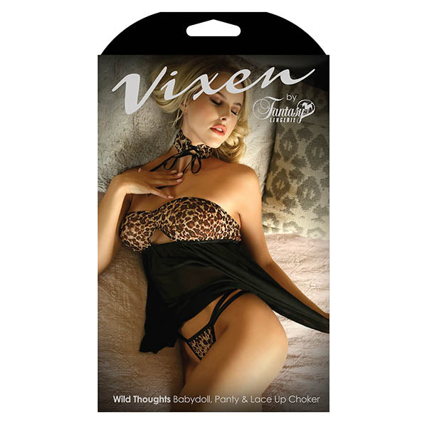 Vixen Wild Thoughts Babydoll, Panty & Lace Up Choker - Leopard/Black - One Size - Early2bed