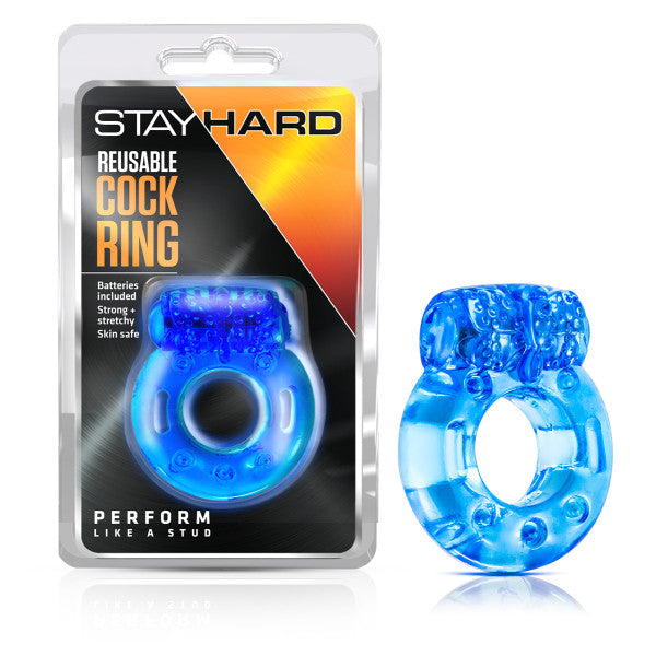 Stay Hard - Reusable Cockring - Blue Vibrating Cock Ring - Early2bed