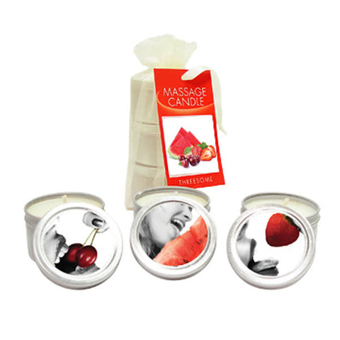Edible Massage Candle Threesome - Cherry, Strawberry & Melon Flavoured Candles - 3 Pack - Early2bed
