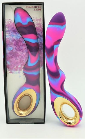 Colourful Curved G-Spot Vibrator Wand Women Sex Toy Camo Pink-Rose-Purple-Blue