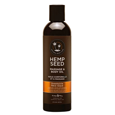 Hemp Seed Massage & Body Oil - Dreamsicle (Tangerine & Plum) Scented - 237 ml Bottle - Early2bed