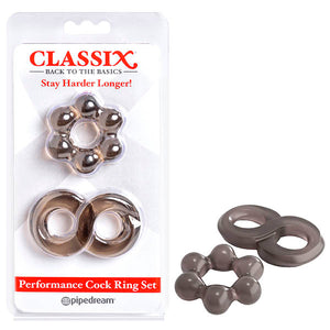 Classix Performance Cock Ring Set - Smoke Cock Rings - Set of 2 - Early2bed