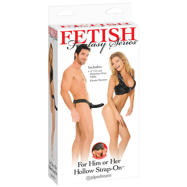 Fetish Fantasy Series For Him Or Her Hollow Strap-On - Black 15 cm (6'') Hollow Strap-On - Early2bed