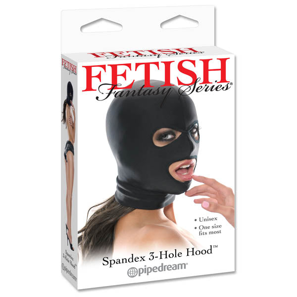 Fetish Fantasy Series Spandex 3-hole Hood - Black Hood - Early2bed