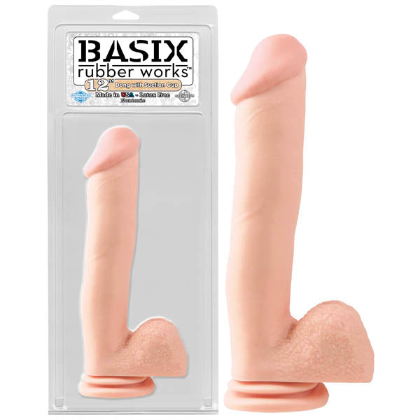 Basix Rubber Works 12'' Dong With Suction Cup - Flesh 30.5 cm (12'') Dong - Early2bed