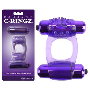 Fantasy C-Ringz Duo-Vibrating Super Ring - Purple Dual Vibrating Cock Ring - Early2bed