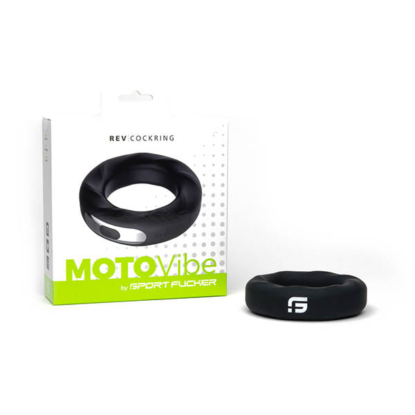 Sport Fucker MOTOVibe Rev Cockring - Black 52mm USB Rechargeable Vibrating Cock Ring - Early2bed
