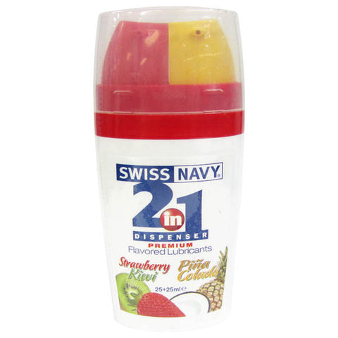Swiss Navy 2-in-1 Dispenser - Strawberry Kiwi & Pina Colada Flavoured Water Based 2-in-1 Lubricants - 2 x 25 ml Bottle - Early2bed