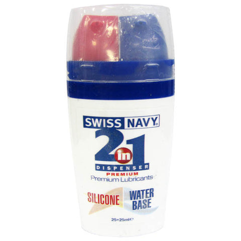 Swiss Navy 2-in-1 Dispenser - Silicone & Water Based 2-in-1 Lubricant - 2 x 25 ml Bottle - Early2bed
