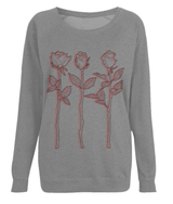 Dark Grey Top Red Black Design 3 Roses Outline Art Sweatshirt by D Clemmett - VidaThreads