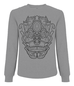 Ornate Skull Sweatshirt by L Sharples - VidaThreads