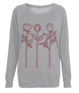Light Grey Top Red Black Design 3 Roses Outline Art Sweatshirt by D Clemmett - VidaThreads