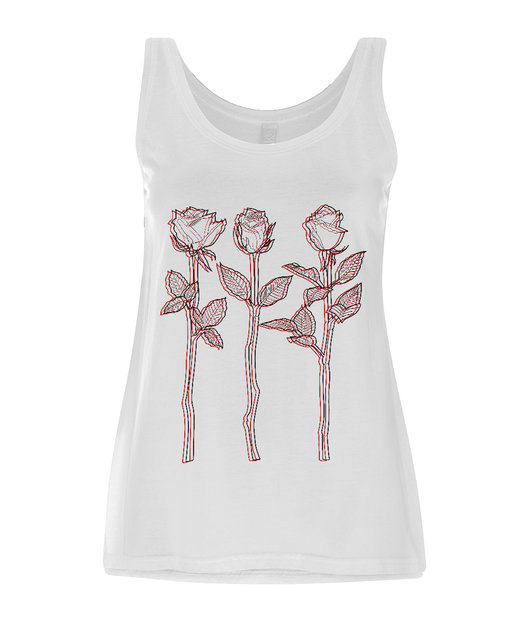 3 Roses Outline Tank Dress by D Clemmett | VidaThreads