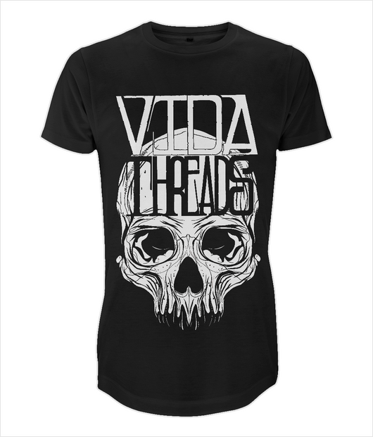VidaThreads Long T Shirt Lettering & Skull Design