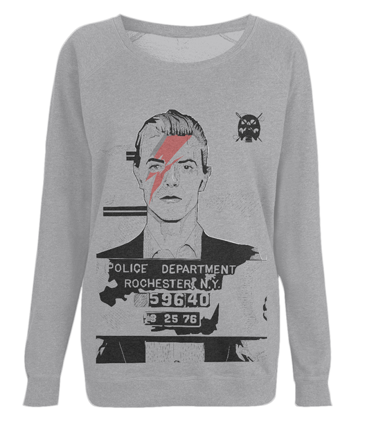 David Bowie Mug Shot Women's Raglan Sweatshirt by Dan Watson