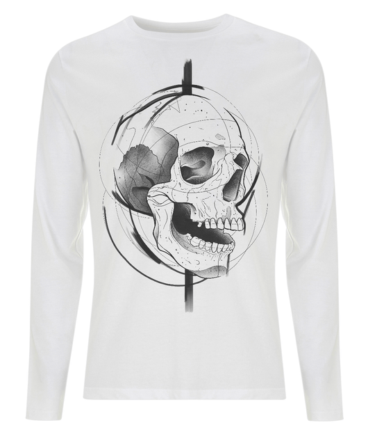 Skull Design Long Sleeve T Shirt by J Nelson