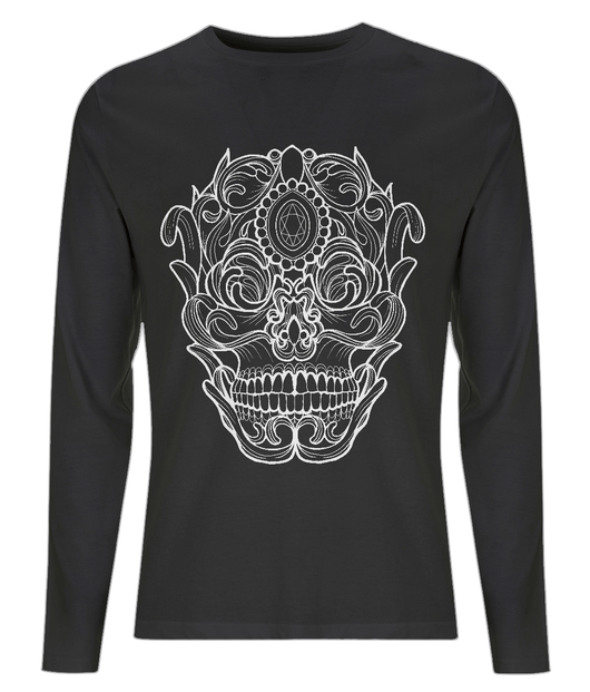 Ornate Skull Long Sleeved Tee by L Sharples - VidaThreads