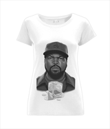 Ice Cube design Ladies T-Shirt Dress by J Winters B/w - VidaThreads