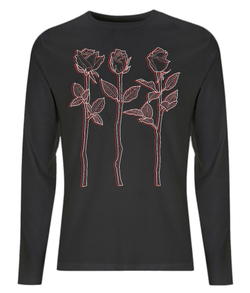 Black Tshirt Red White Design 3 Roses Outline Art Long Sleeved Tee By D Clemmett - VidaThreads