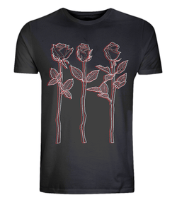 Black Tee red white design 3 Roses Outline Art Classic Tee By D Clemmett - VidaThreads