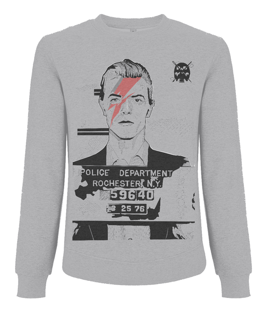 David Bowie Mug Shot Men's Raglan Sweatshirt by Dan Watson
