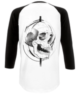 Logo Distressed and Skull Unisex Baseball Tee Design by J Nelson