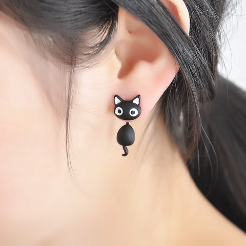 Jewellery - 1 Pce Cute Kitten Cat Stud Earrings Black & White