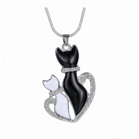 Jewellery - Black And White Cats Heart Crystal Pendant Necklace